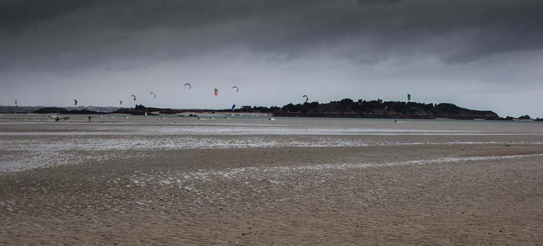 Balade, pêche à pied et kite surf à Lancieux
