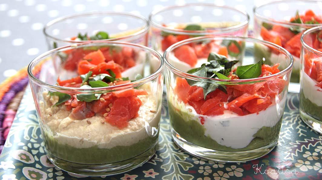 Verrines de fêtes saumon fumé guacamole