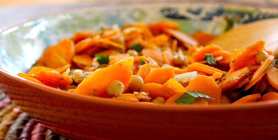 Salade de carottes aux pois chiches et cumin (vegan et sans gluten)